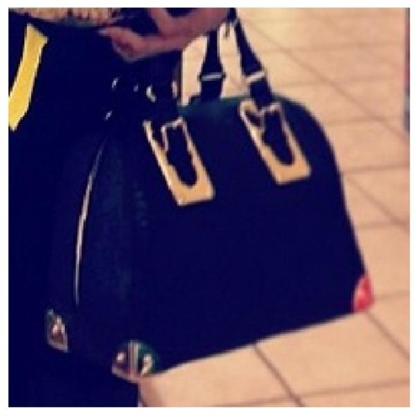 bag leather handbag top handle gold plated gold corners corner black purse handbag gold