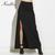 High Waist Split Ankle-length Skirt