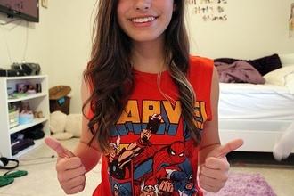tank top marvel superheroes red t-shirt top cartoon muscle tee