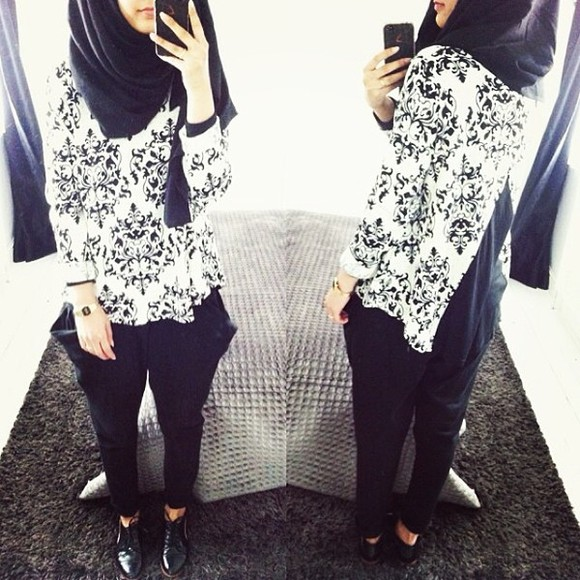 printed blouse black and white black white