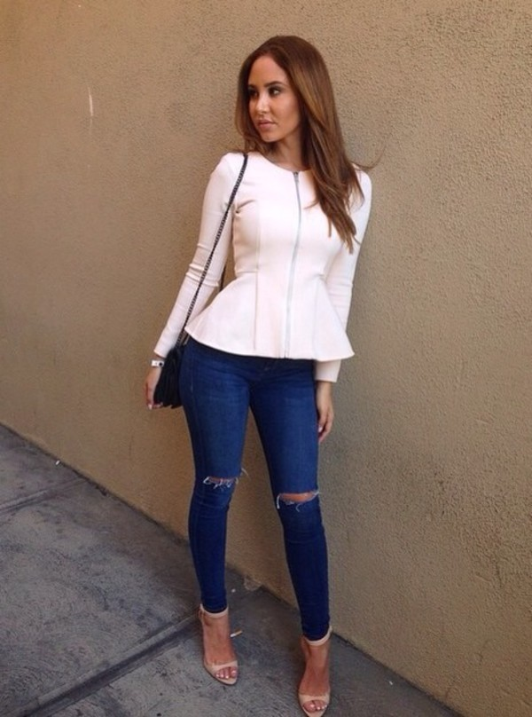 jacket jeans peplum long sleeves shoes ripped jeans blue blouse shirt