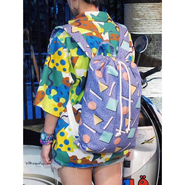 Bag 90s Style Pattern Colorful Tumblr Tumblr Girl