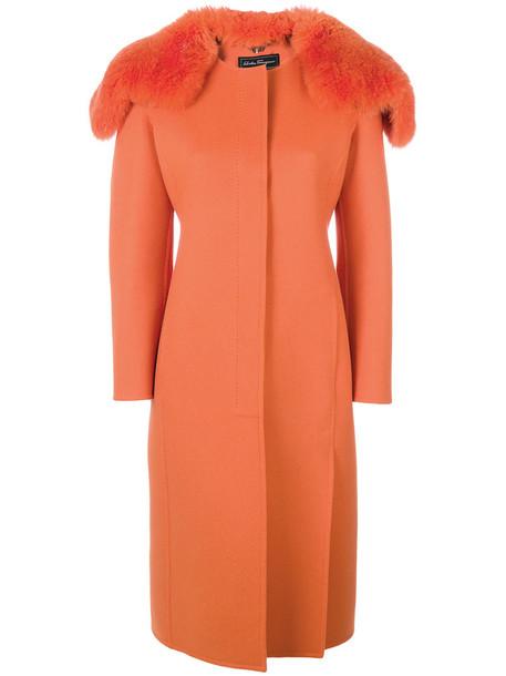 coat women silk wool yellow orange