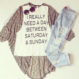 blouse quote on it casual nice cardigan jeans ootd cute boyfriend jeans ripped jeans white top tank top muscle tank instagram sunglasses round sunglasses tumblr