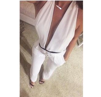 jumpsuit white deep v neck