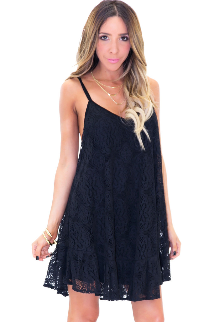 MARBELLA LACE SUN DRESS - Black | Haute & Rebellious