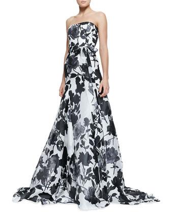 Carolina Herrera Strapless Belted Rose-Print Ball Gown