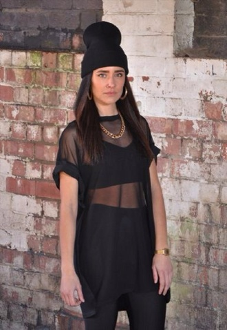 t-shirt black mesh clear see through sheer top fashion shirt sheer top