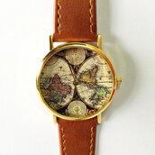 jewels,map watch,map print,freeforme,watch,style,freeforme watch,leather watch,womens watch,mens watch,unisex
