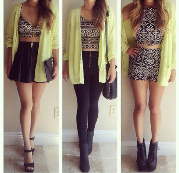 black and white top tribal pattern yellow cool girl style
