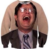 sweater,the office,dwight schrute,rainn wilson,beige sweater,printed sweater,dwight