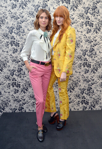 blouse pants suit alexa chung yellow jacket blazer florence welch