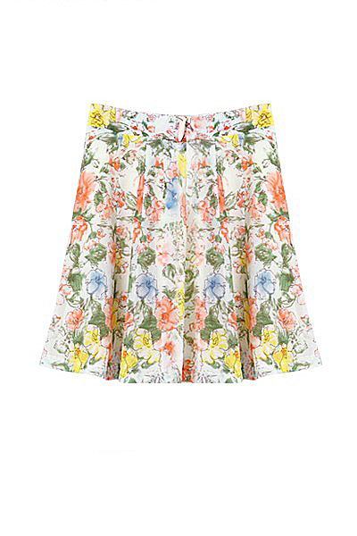 Multicolor floral printed a line skirt above knee