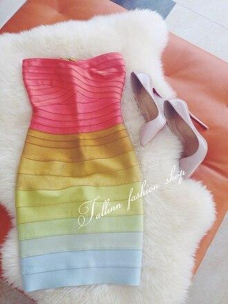 dress bodycon bandage dress rainbow