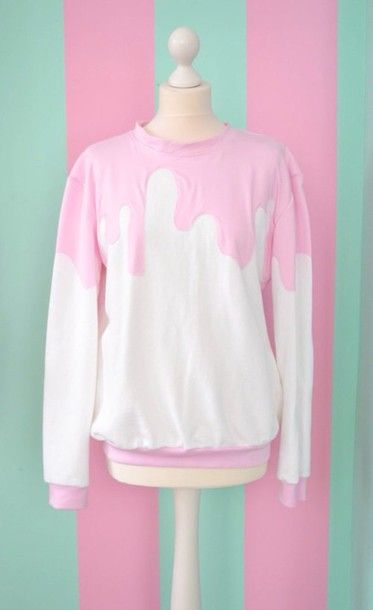 Sweater: white sweater, pink sweater, baby pink, melting, ice ...