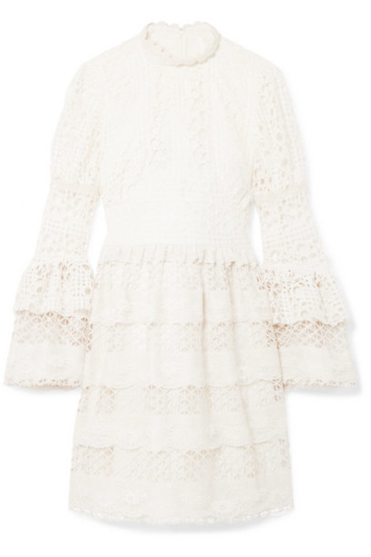 Anna Sui - Dew Drop & Trellis Guipure Lace Mini Dress - Cream