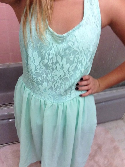 mint green dress cotton express
