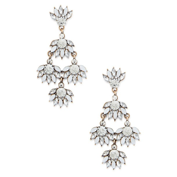 Sole Society Champagne Statement Earrings  - Crystal-One Size