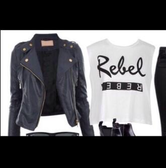 jacket black white black jacket white t-shirt grease outsiders shirt style leather jacket leather