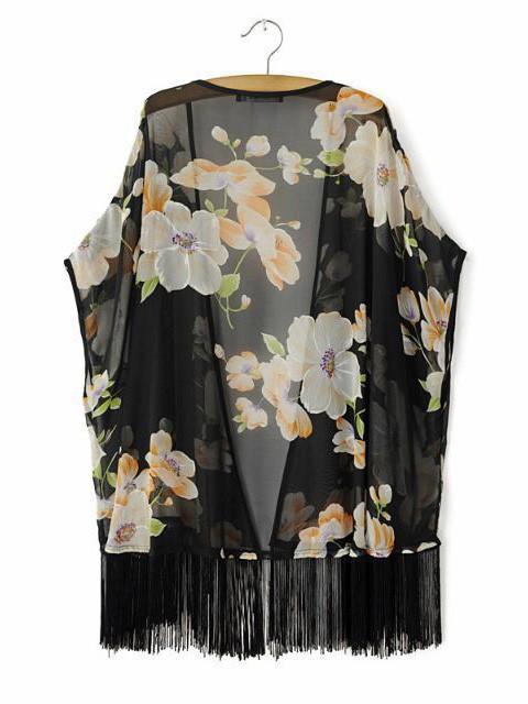 Women's loose stylish fifth of the sleeve white flowers printed thin black fringed hem chiffon kimono sunscreen cardigan