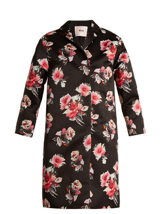 coat floral print satin black