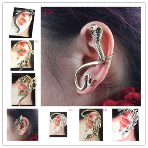 Gothic Rock Punk Temtation Metal Dragon Snake Flower Ear Cuff Wrap Clip Earring | eBay