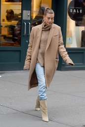 coat,camel coat,hailey baldwin,fall outfits,sweater,boots,jeans