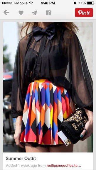 color block skirt geometric pattern