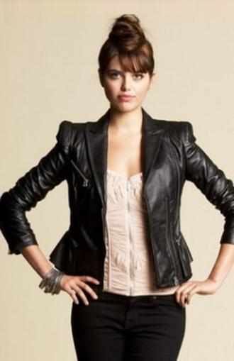 jacket black leather jacket bebe katherine pierce the vampire diaries