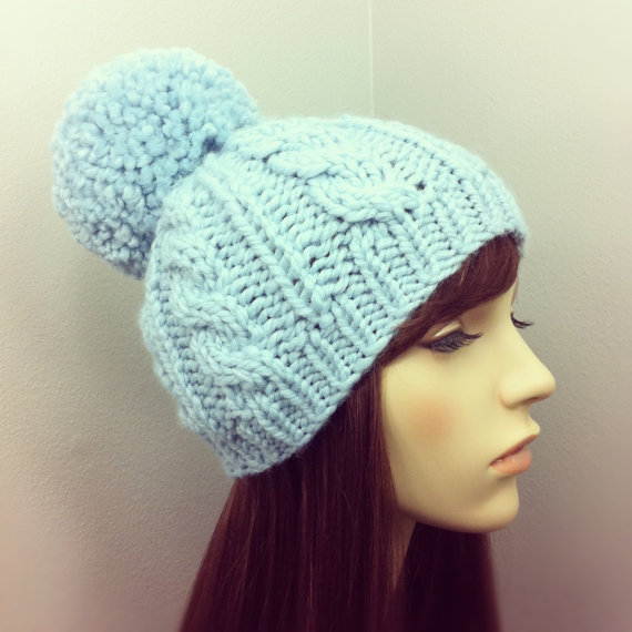 Hand Knit Hat Womens Chunky Cable Pom Pom Beanie by ... b1eaa55768d