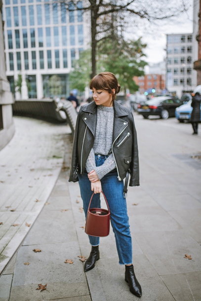 jacket tumblr sweater grey sweater black jacket denim jeans blue jeans boots black boots ankle boots bag