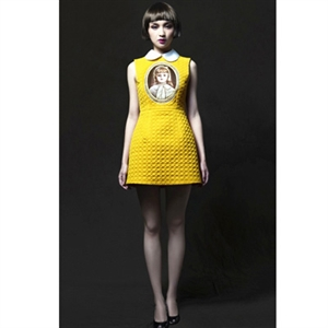 The newest 'all items' store to hit the web!. yellow sleeveless round lapel baby print quilted dress