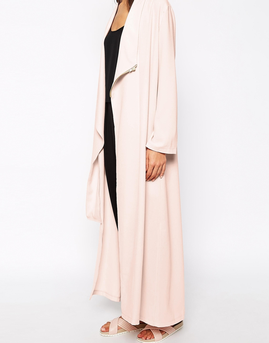 Never fully dressed crepe maxi duster coat with zip detail at asos.com