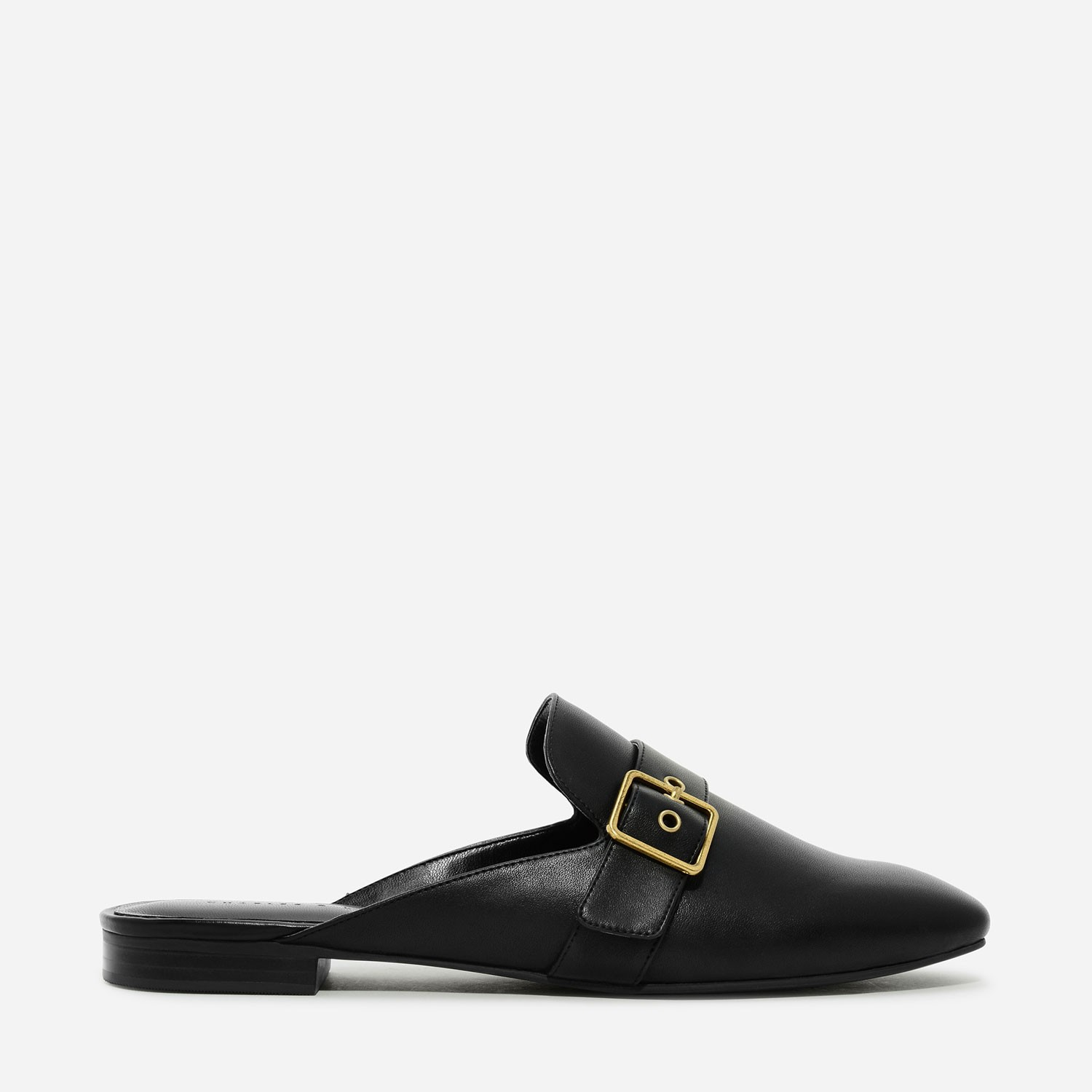 Black Buckle Flat Mules | CHARLES & KEITH