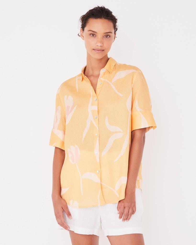 Short Sleeve Shirt Tulip Print