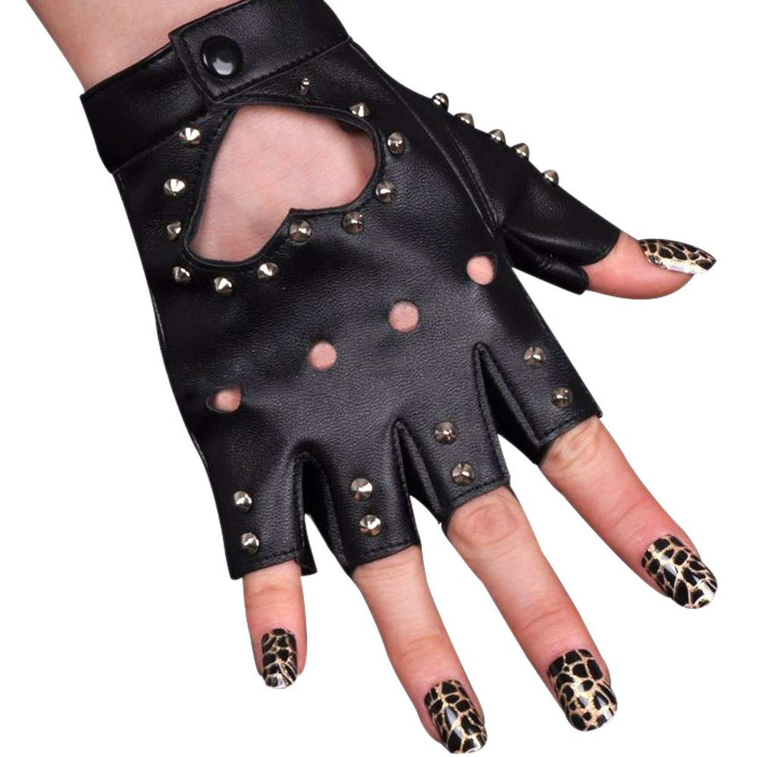 Fingerless gloves amazon - Women Pu Leather Motorcycle Bike Car Fingerless Performances Glove Black1 At Amazon Women S Clothing Store