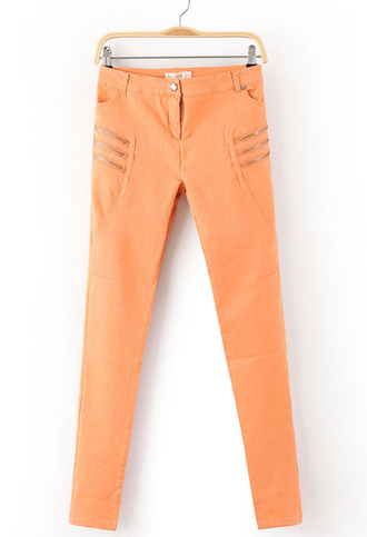 denim skinny jeans orange pants tangerine zipper