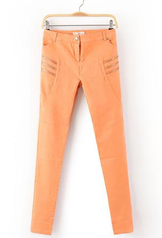tangerine orange pants zipper skinny jeans denim