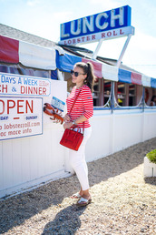 covering bases,curvy,blogger,shirt,shoes,sunglasses,red top,stripes,long sleeves,white jeans,white pants,red bag,flats