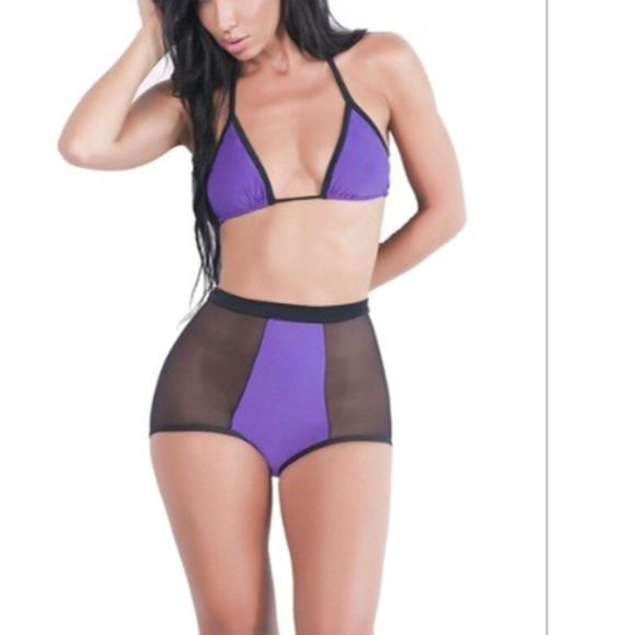swimwear bikini purple swimwear purple mesh purple and blue high waisted bikini triangle bikini black bikini black draya michele