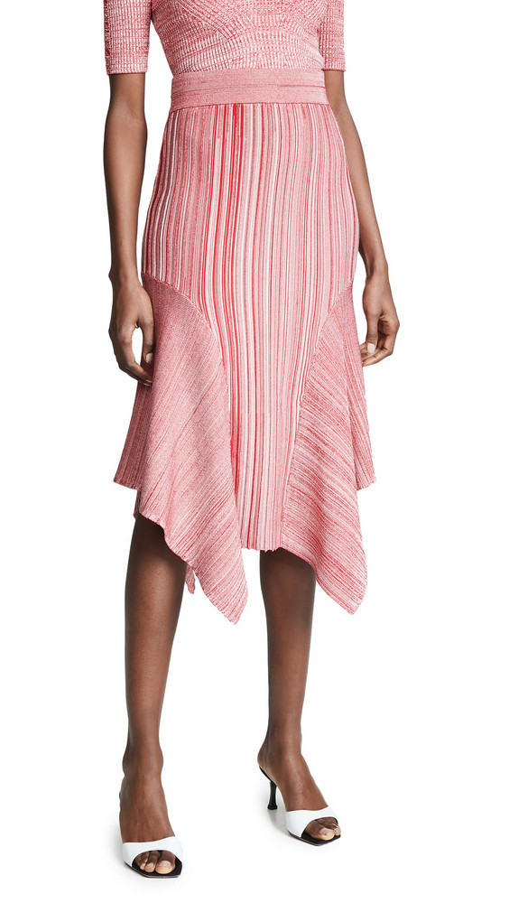 Yigal Azrouel Knit Pleat Skirt in crimson / multi
