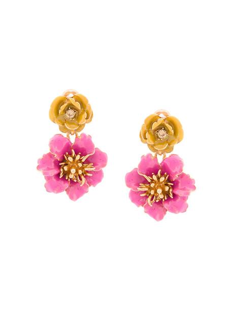 oscar de la renta women earrings floral purple pink jewels