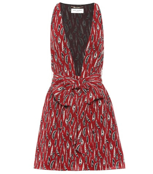 Saint Laurent Printed silk minidress in red