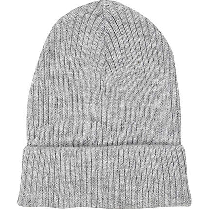 Grey rib knit beanie hat - hats - accessories - women