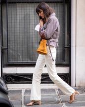 jeans,white jeans,denim,mules,jacket,checkered,handbag