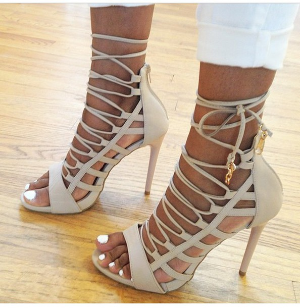 Shoes: sandals, sandal heels, heels, lace up, lace up heels, nude ...