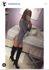 sweater,black,black dress,black and white,black boots,heels,high heels,black heels,grey,grey dress,grey t-shirt,cute,cute top,cute dress,cute high heels,cute outfits,cute shoes,love,dope,dope wishlist,edgy,cool,night dress,nightwear,night,ootd,mxlisa.xo,shoes,boots,suede boots