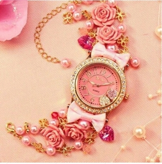 jewels gold watch girly cute bow bows pink watch gold watch bow watch pearl diams roses fliral flowers floral watch romantic romantic dress