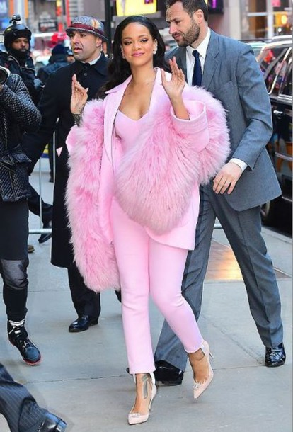 jumpsuit pink rihanna blazer fur pants pumps jewels