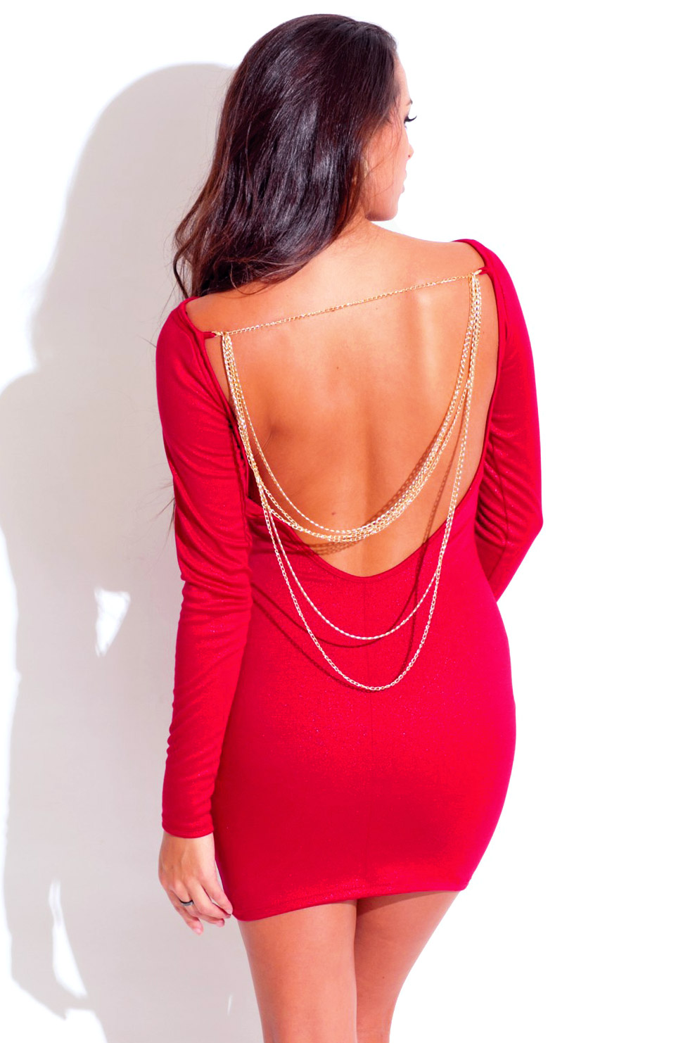 Lipstick red long sleeve backless bejeweled metallic fitted bodycon clubbing mini dress